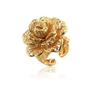 Кольцо Aliexpress Flower 24K Gold Plated Exaggerated Rings For Women Rose Vintage Jewelry Sets Anel Joias Retro Bijoux Acessorios Fashion R24K-09 фото