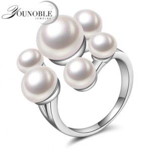 Кольцо Aliexpress Wedding <b>Real natural freshwater pearl</b> rings for ...