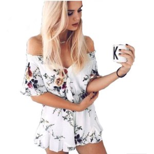 Комбинезон AliExpress GAMISS Woman Jumpsuit Rompers Summer Floral Sexy Style Off-the-shoulder Mini Jumpsuit Female beach Overall playsuit collant фото
