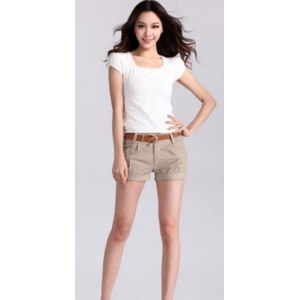 Шорты AliExpress Spring Summer Fashion New Womens Slim Wild Casual Fashion Solid Color Shorts Female Short Pants фото