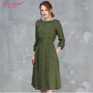 Платье AliExpress S.FLAVOR Summer Fashion Women A-line Dress O-neck Three Quarter Sleeve Knee-length Dress Female Elegant Printing Midi Vestidos фото