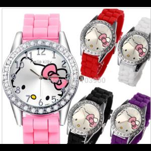 Наручные часы Aliexpress Часы New 2015 Fashion Lovely HelloKitty Cartoon Watch Women Rhinestone Children Girls Dress Watches Pink Silicone Quart Wristwatches фото
