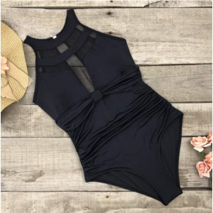 Купальник AliExpress Riseado New One Piece Swimsuit Halter Push Up Swimwear Women Sexy Mesh Plunging Swim Wear Ruched Summer Beachwear Bathing Suits фото