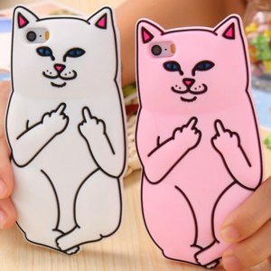 Чехол для мобильного телефона Aliexpress 3D Cute Ripndipp Silicon Cartoon Pocket Cat Case For iPhone6 6S/6s Plus/5 5s SE Soft Animal Middle Finger Cat Lovely Back Cover фото