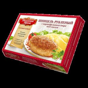 Шницель рубленый Российская корона с картофельным пюре под соусом фото