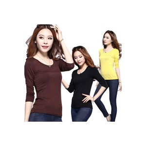 Футболка с длинным рукавом AliExpress Free Shipping 2014 Hot Sale Women's Clothing Women Tops Tees Long Sleeve T Shirts warm T Shirts Basic Shirt 10 Colors Retail фото
