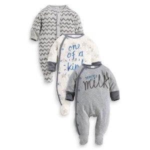 """Пижама Next """"Набор из трех серых пижам с надписями (0 мес. - 2 года)"""", артикул 973-514 фото"""