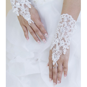 Свадебные перчатки Aliexpress Hot Sale High Quality Write, Ivory Fingerless Short Paragraph Elegant Rhinestone Bridal Wedding Gloves Wholesale Free Shipping фото