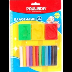 Пластилин PAULINDA, набор 12 цветов, 3 формочки фото
