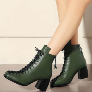Полусапожки демисезонные Aliexpress Fashion square toe lace-up genuine leather solid nude women ankle boots thick heel brand women shoes causal motorcycles boot L74 из натуральной кожи фото