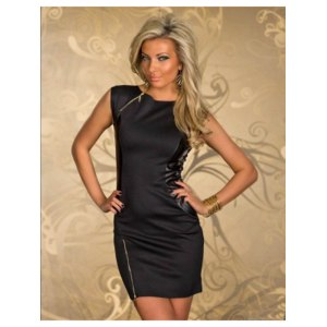 Платье AliExpress European Rock Style Women Black Faux Leather Patchwork Zipper Casual Bodycon Dress Female Night Dancer Club Dresses YT895 фото