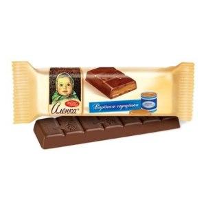 """Шоколад Красный октябрь """"Алёнка"""" с начинкой вареная сгущенка ( 48 гр.) фото"""