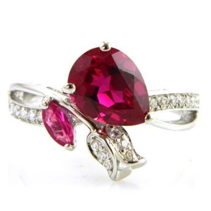Кольцо Aliexpress Wholesale Summer Hot New Stylish Vintage Sexy Girl's Pigeon Blood Red Ruby Ring 925 Sterling Silver Fashion фото