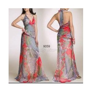 40f805a9882 Платье AliExpress Sexy Red Floral Printed Halter Long Fashion Evening Gowns  фото
