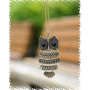 Подвеска Aliexpress Fashion Necklace Bronze Cute Owl Necklace With Big Eye Pendant Vintage Necklace B2  фото