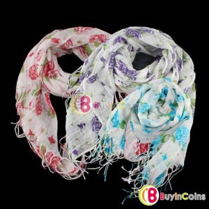 Шарф Buyincoins New Cute Lady Women Fashion Rose Cotton Blends Print Long Girl Scarf Shawl Wrap фото