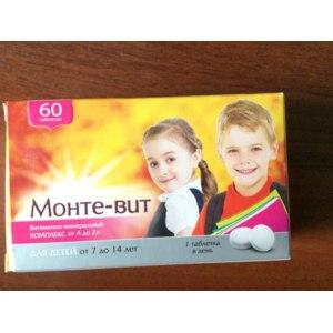 Витамины Монте-вит Витаминно-минеральный комплекс для детей  от 7 до 14 лет от A до Zn фото