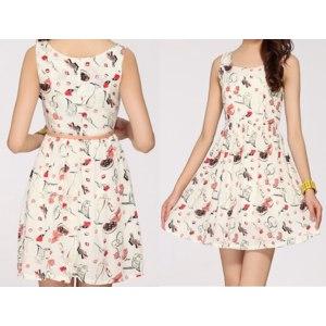 Платье AliExpress New 2014 Women Print Summer Slim Dress, Fashion Retro OL Korean Version Chiffon Dress,Ladies Female Fashion Dresses фото