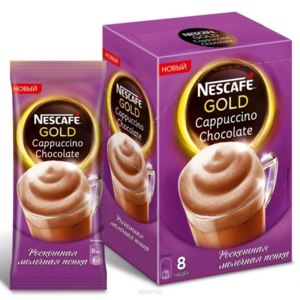 Напиток кофейный растворимый Nescafe Gold Cappuccino Chocolate. Шоколадный с молочной пенкой фото
