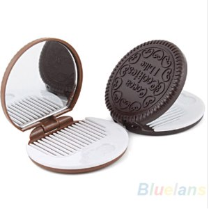 Компактное зеркало Aliexpress Cute shaped cookies design makeup mirror comb Chocolate 021 g фото