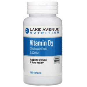 БАД Lake avenue nutrition Витамин D3, 5 000 МЕ, 360 мягких желатиновых капсул фото
