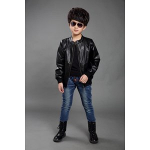 Куртка AliExpress 2015 new boys boxy jacket with long sleeves high quality leather jacket spring boy boy outerwear leather coat free shipping фото