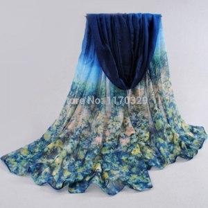 Шарф AliExpress Voile Oversize Fashion Flower Printing Scarf sobretudo inverno travel beach Shawl Bikinis Wraps Sarong фото