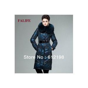 Зимняя куртка AliExpress Large Winter Goose Down Coats Women Real Fur Collar Hood Thickening Down Jacket with Belt Long plus size XXXL 4XL Women Parka фото