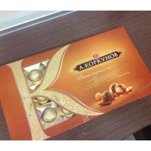 """Конфеты Коркунов """"Молочный шоколад с цельным лесным орехом и нежное ореховое пралине"""" фото"""