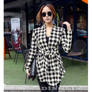 Кардиган AliExpress Women cardigan ladies female long sleeve Houndstooth Lapel tunic casual peplum knitted jacket coat tops clothes suit SML 0271 фото