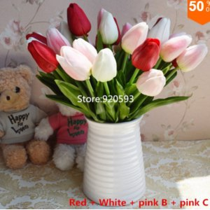 Тюльпаны Aliexpress Free shipping 31PCS/LOT pu mini tulip flower real touch wedding artificial silk home decoration фото