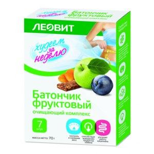 Леовит Худеем за неделю батончик фруктовый очищающий комплекс 70г №7 фото