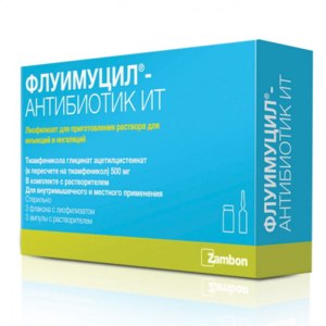 Антибиотик Zambon Флуимуцил-антибиотик ИТ (для ингаляций) фото