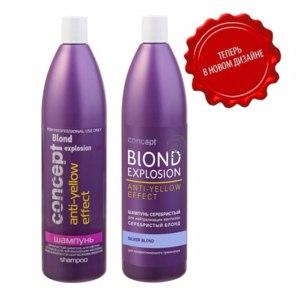 Оттеночный шампунь CONCEPT Blond Explosion Anti-yellow effect для нейтрализации желтизны фото