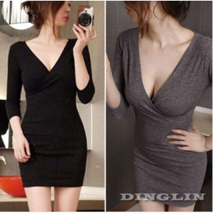 Платье-туника AliExpress   2014 Spring Sexy Womens Brief V-Neck Long Sleeve Solid Knit Slim Waist Straight Party Clubwear Pencil Dress Free Shipping 1133 фото
