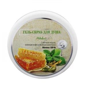 Гель-скраб  для душа Домашние рецепты медовый с мятным мёдом,зелёным кофе и овсяным молочком фото