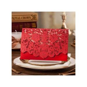 Приглашения на свадьбу 1pcs Gold Red White Laser Cut Luxury Flora Wedding Invitations Samples Elegant Lace Party Decorations Cards JJ628 фото
