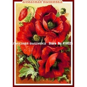 Алмазная мозаика с Aliexpress.com. Название - Round diamonds Russia Flowers Diamond Painting Cross Stitch red flower Mosaic embroidery fully DIY Beautiful gifts and funny фото