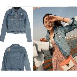 Джинсовая куртка AliExpress Korean grinding White Street all-match denim jacket outwear coat jeans free shipping 880 фото
