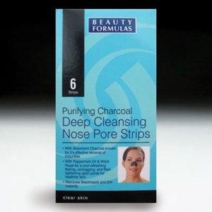 Очищающие полоски для носа Beauty Formulas с активированным углем (Purifying Charcoal Deep Cleansing Nose Pore Strips) фото