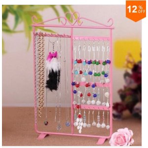 Подставка для бижутерии Aliexpress 1PC 6 Hooks 32 Holes Earrings Necklace Ear Studs Jewelry Display Rack Metal Stand Organizer Holder Display Shelf фото