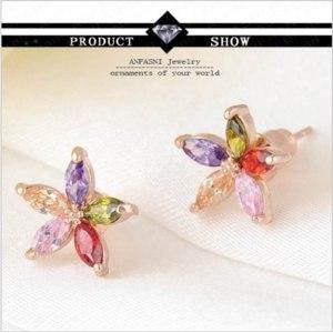 Серьги Aliexpress Tiny Flower Earrings Elegant Real 18K Gold Plated/Platinum Cubic Zircon Stud Earrings Fashion Jewelry CER0019-C фото