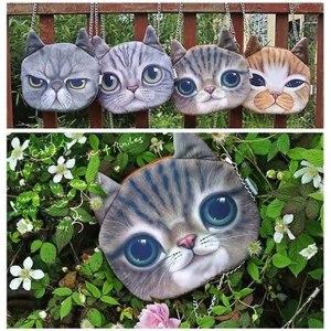 Сумка Женская Ebay Fashion Cute Women 3D Cat Face Printing Long Chain Shoulder Bag Zipper Handbag фото