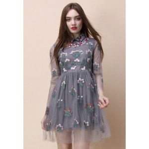 Платье Chicwish Garden Story Embroidered Mesh Dress in Grey фото