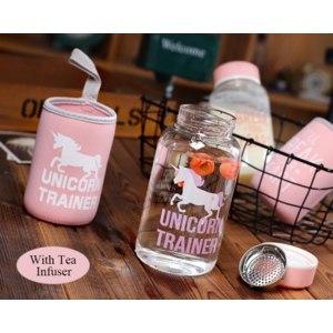 Бутылка для напитков Aliexpress Hoomall 2018 Бутылка для чая с ситечком и термочехлом. Стеклянная. Единорог. фото