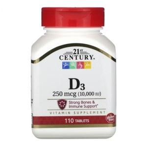БАД 21st Century Витамин D3, 250 мкг (10 000 МЕ), 110 таблеток фото