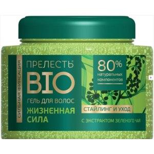 Гель для волос Прелесть BIO с экстрактом зеленого чая сильной фиксации. фото