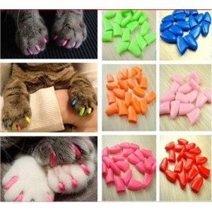 Защитные колпачки на когти Aliexpress 100pcs/lot 14 Colors Soft Cat Pet Nail Caps Claw Control Paws off + 5pcs Adhesive Glue Size XS S M L Free Shipping фото