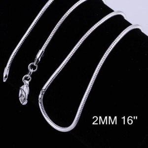 Цепочка Ebay Fashion 2mm 925 Sterling Silver Filled Wrest Rope Snake Chain Necklace Pendant фото
