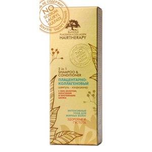 Шампунь-кондиционер 2-в-1 BioGOLD Placenta&Collagen Hairtherapy плацентарно-коллагеновый для жирных волос Биоголд с био-золотом, кератином и протеинами шелка фото